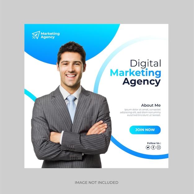 Kreatywny baner agencji marketingu cyfrowego i post w mediach społecznościowych lub szablon banera internetowego