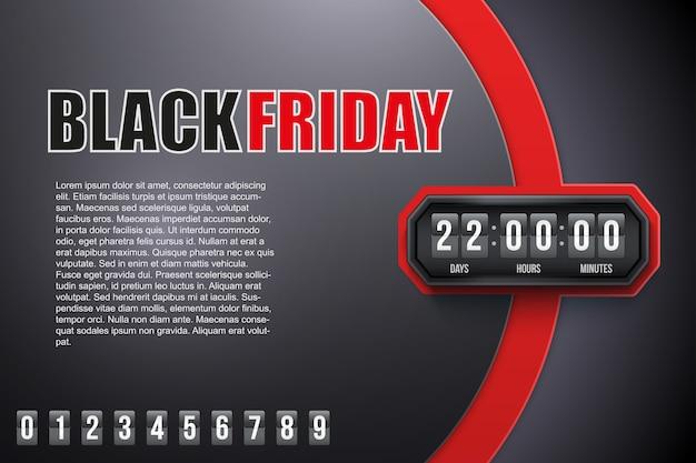 Kreatywny baner czarny piątek i minutnik z próbkami cyfr.