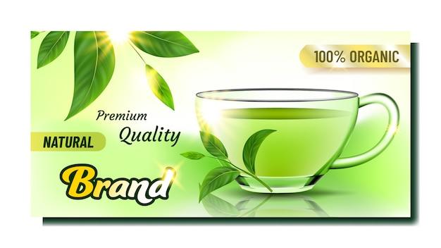 Kreatywny baner reklamowy naturalnej herbaty