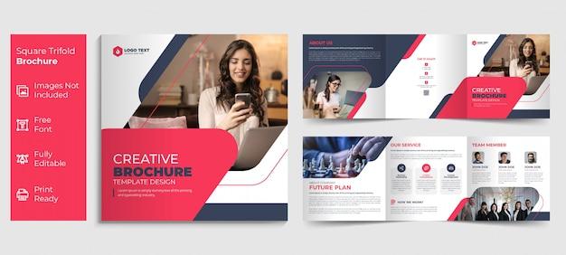 Kreatywny biznes kwadrat potrójny broszura szablon projektu