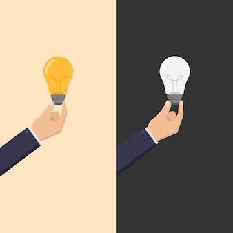 Kreatywny biznes z ręką trzymającą żarówkę włączania i wyłączania ilustracji projektu