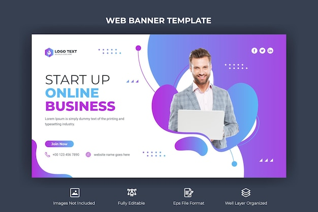 Kreatywny biznesowy baner internetowy i szablon miniatury youtube