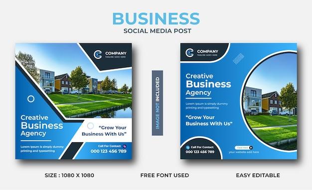 Kreatywny biznesowy post w mediach społecznościowych, projekt banera na instagramie