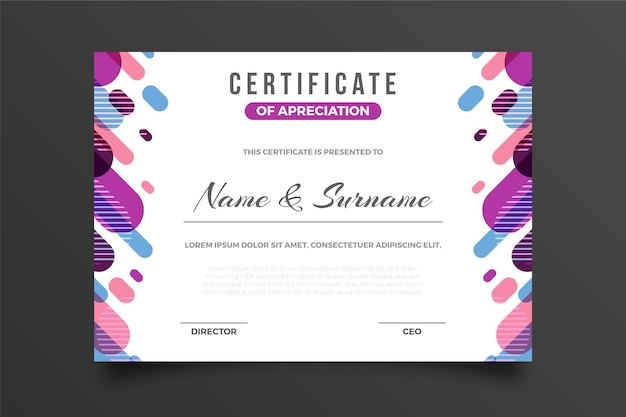 Kreatywny certyfikat uznania efekt memphis