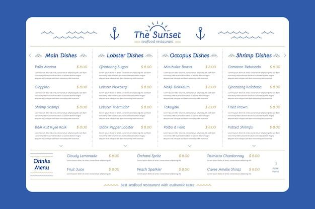 Kreatywny cyfrowy szablon menu restauracji w formacie poziomym