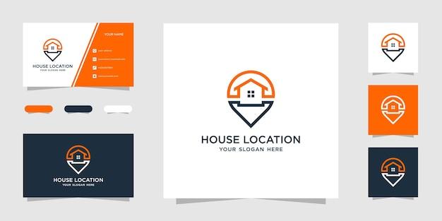 Kreatywny dom lokalizacja prosty szablon projektu logo i wizytówka