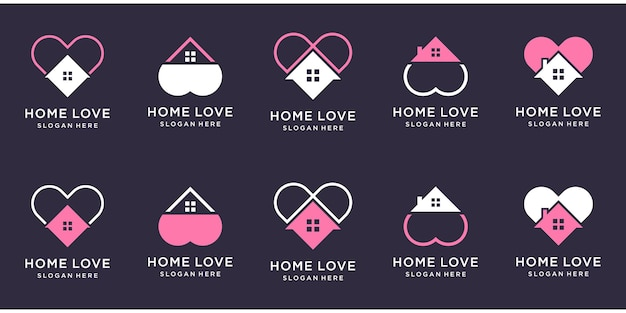 Kreatywny dom z zestawem logo w kształcie miłości.