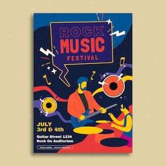Kreatywny doodle szablon plakatu wydarzenie muzyczne koncert rockowy