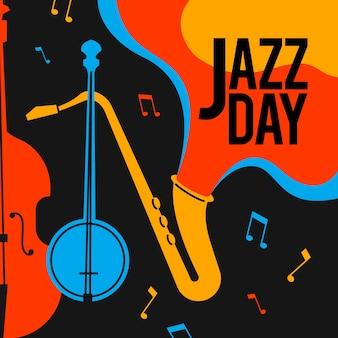 Kreatywny dzień jazzu w płaskiej konstrukcji