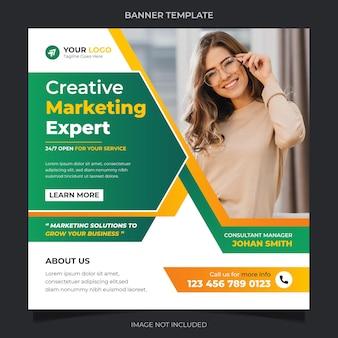 Kreatywny ekspert ds. marketingu korporacyjnych mediów społecznościowych instagram banner post szablon wektor projektu