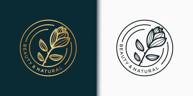 Kreatywny elegancki projekt logo liść i kwiat róży dla piękna,