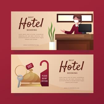 Kreatywny gradientowy hotelowy baner szablon ze zdjęciem