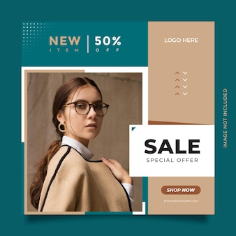 Kreatywny i nowoczesny szablon postu i banera w mediach społecznościowych na sprzedaż mody