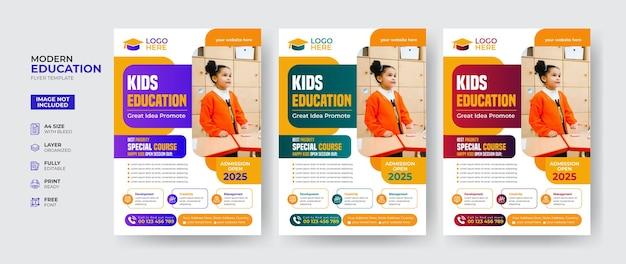 Kreatywny i nowoczesny szablon ulotki edukacyjnej dla dzieci