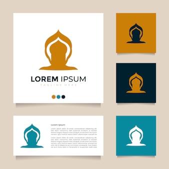 Kreatywny i świetny pomysł minimalistycznej ilustracji wektorowych kopuły i projekt logo meczetu