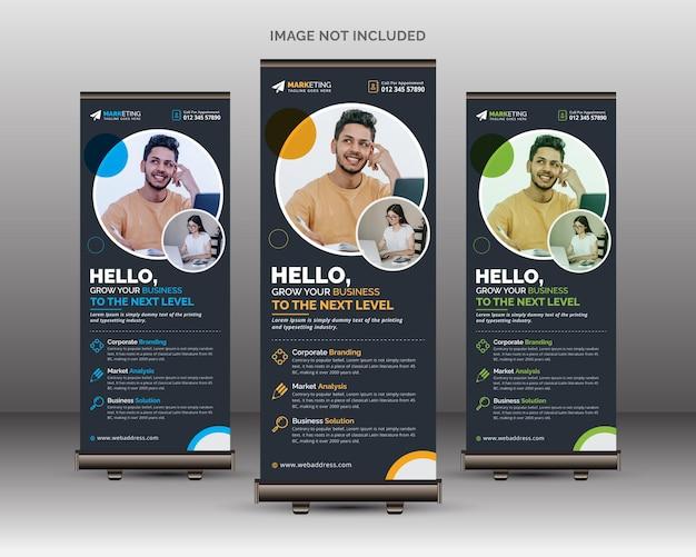 Kreatywny i unikalny szablon roll up banner standee firmy o nowoczesnym wyglądzie