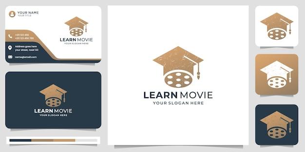 Kreatywny kapelusz połączony z logo filmu. dowiedz się inspiracji logo filmu z projektowaniem wizytówek.