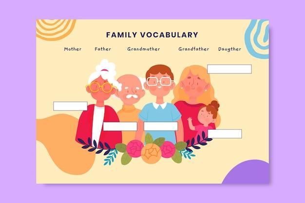 Kreatywny kolorowy arkusz roboczy rodziny słownictwa
