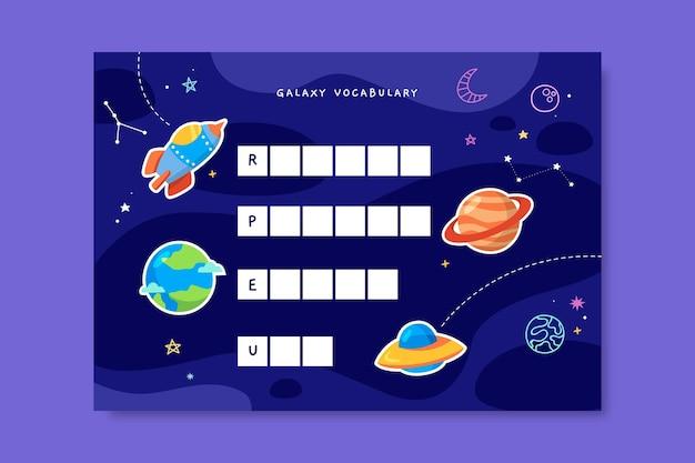 Kreatywny kolorowy arkusz roboczy słownictwa galaktyki