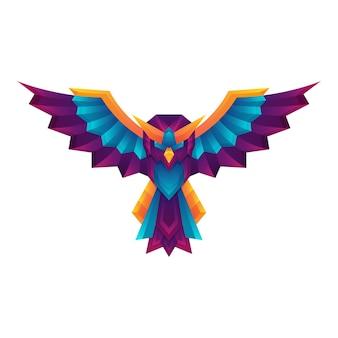 Kreatywny kolorowy gradient sowa wektor sztuki logo koncepcja szablon projektu