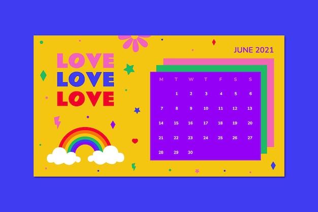 Kreatywny kolorowy kalendarz miłości na miesiąc lgbt