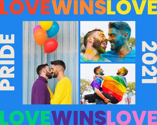 Kreatywny kolorowy kolaż zdjęć miłości lgbt