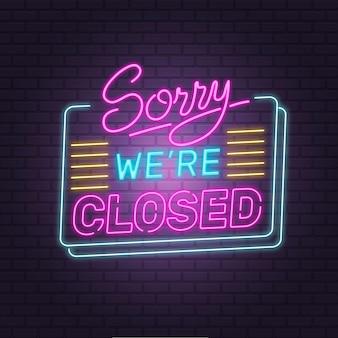 Kreatywny kolorowy neon przepraszam, mamy zamknięty znak