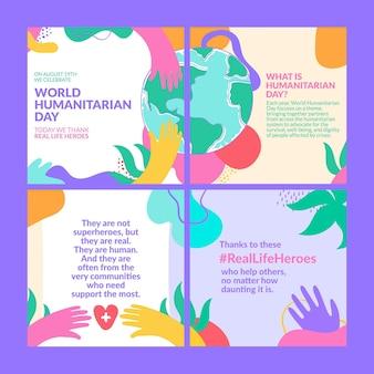 Kreatywny kolorowy post na instagram z okazji humanitarnego dnia