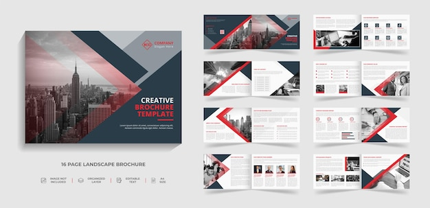 Kreatywny krajobraz korporacyjny projekt szablonu broszury nowoczesnego biznesu