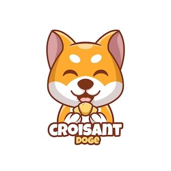 Kreatywny Kreskówka Croisant Doge Shiba Inu Dog Cute Logo Premium Wektorów