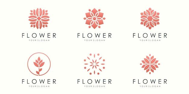 Kreatywny kwiat ikona logo zestaw naturalny szablon wektor wzór