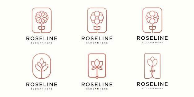 Kreatywny kwiat logo i zestaw ikon. wektor szablonu projektu.