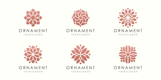 Kreatywny kwiatowy ornament logo i zestaw ikon. wektor szablonu projektu.