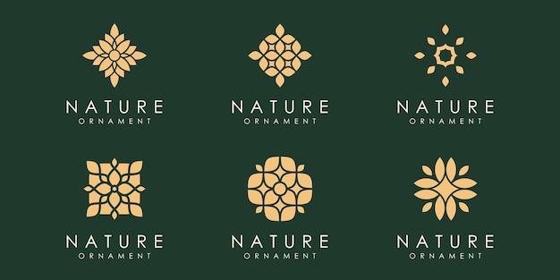 Kreatywny liść ornament logo ikona zestaw natura projekt szablon wektor