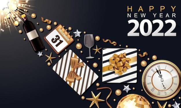 Kreatywny luksusowy projekt banera 2022 z pudełkiem prezentowym i złotą wstążką yappy nowy rok w tle