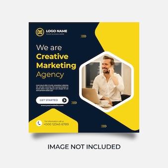Kreatywny marketing w mediach społecznościowych szablon postu na instagramie wektor premium