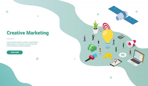 Kreatywny marketing zespołu ludzi biznesu koncepcja z dużymi pomysłami na szablon strony internetowej lub strony startowej z nowoczesnym izometrycznym stylu płaskiego