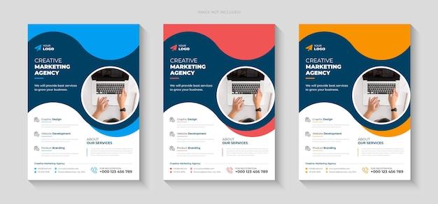 Kreatywny marketingowy projekt ulotki promocyjnej i szablon strony tytułowej