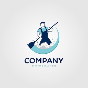 Kreatywny mężczyzna czyszczenia koncepcja logo szablon projektu
