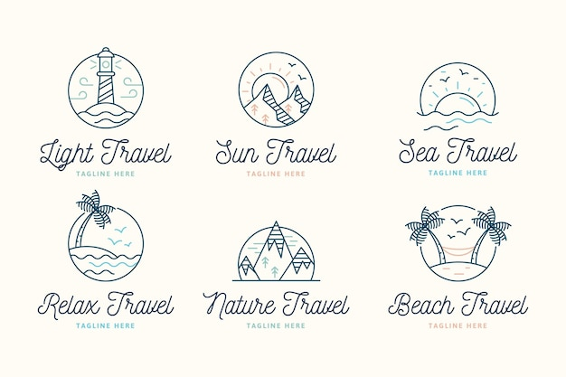 Kreatywny minimalistyczny pakiet logo podróży