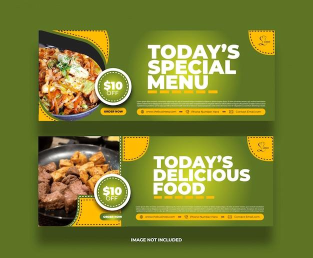 Kreatywny minimalny baner z jedzeniem w restauracji ze specjalnym menu dla mediów społecznościowych