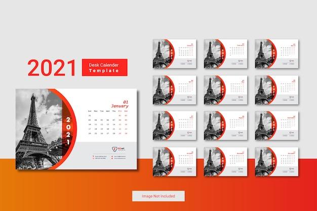 Kreatywny minimalny szablon kalendarza 2021 na biurko