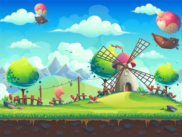 Kreatywny młyn tła ilustracji na ilustracji wzgórza