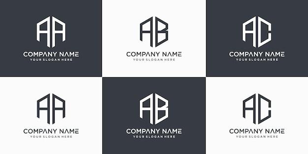 Kreatywny monogram list aa ab logo szablon projektu