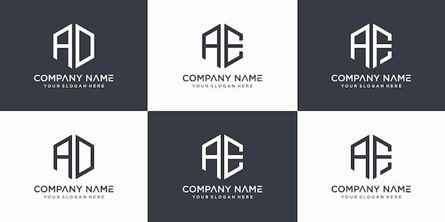 Kreatywny monogram list ae af logo szablon projektu