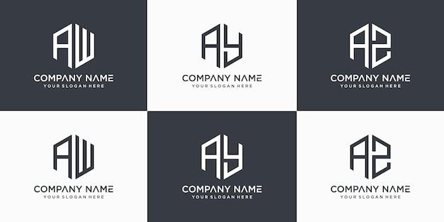 Kreatywny monogram list aw ay az logo szablon projektu