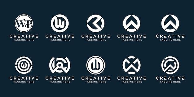 Kreatywny monogram litera w ikona logo zestaw ikon dla biznesu moda sport finanse proste