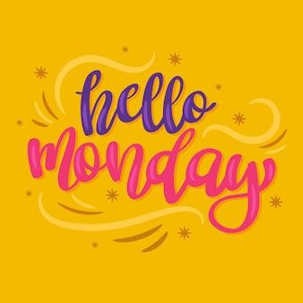 Kreatywny napis witaj w poniedziałek