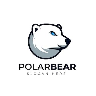 Kreatywny Niedźwiedź Polarny Głowa Kreskówka Maskotka Ilustracja Logo Premium Wektorów