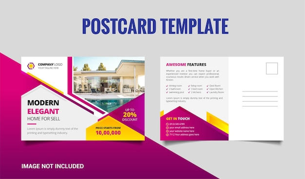 Kreatywny nowoczesny projekt szablonu pocztówki prawdziwego stanu